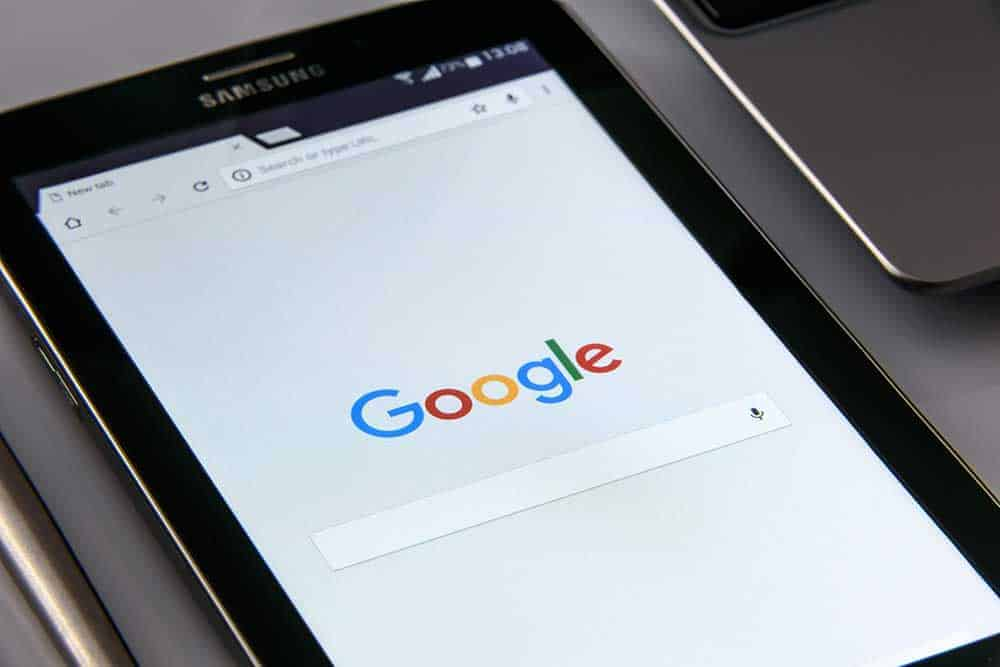 on-page seo a mobile phone showing google search bar